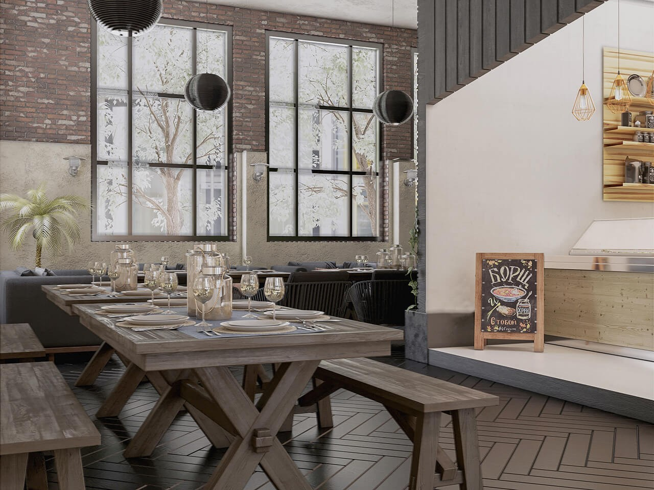 The Interior Design of a Rustic Café and Restaurant