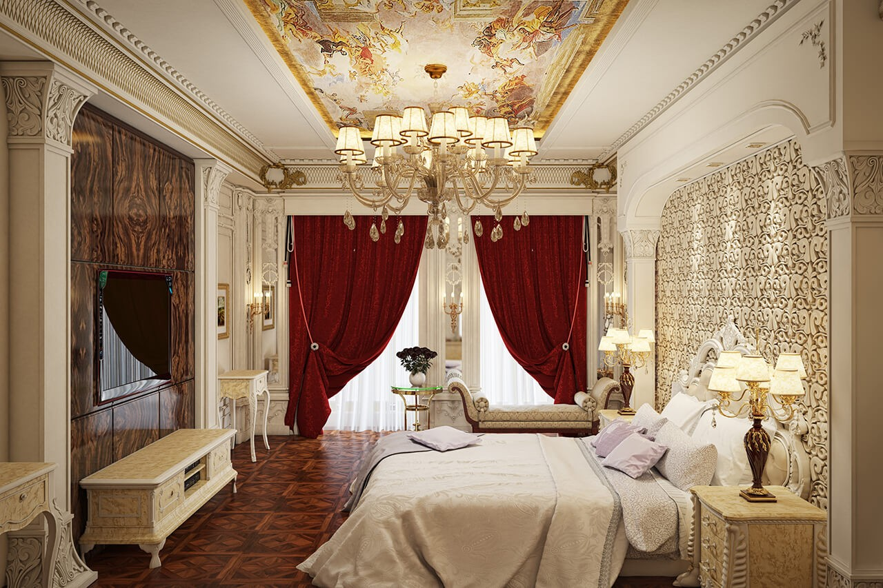 Interior and Lighting Design of a Luxurious Classic Bedroom
